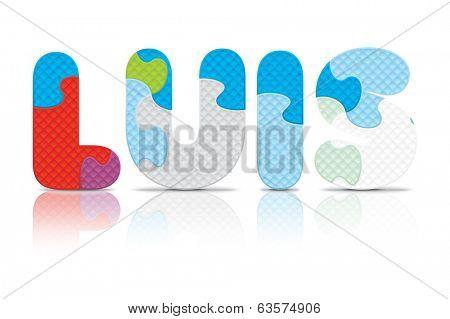 LUIS written with alphabet puzzle - vector illustration