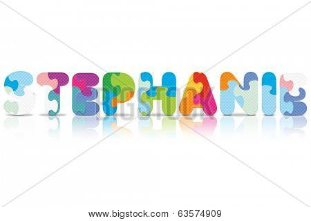 STEPHANIE written with alphabet puzzle - vector illustration