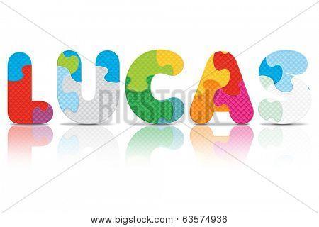 LUCAS written with alphabet puzzle - vector illustration
