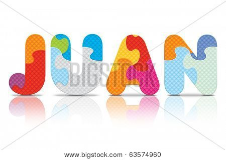 JUAN written with alphabet puzzle - vector illustration