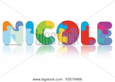 NICOLE written with alphabet puzzle - vector illustration