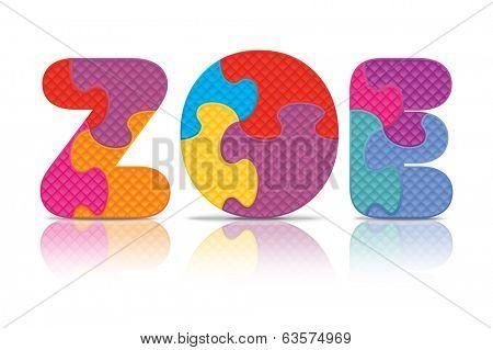 ZOE written with alphabet puzzle - vector illustration
