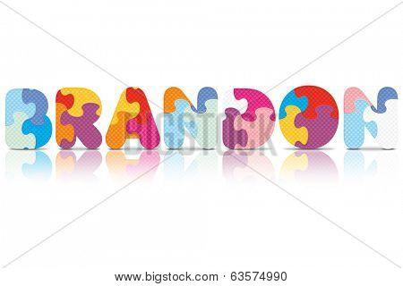 BRANDON written with alphabet puzzle - vector illustration