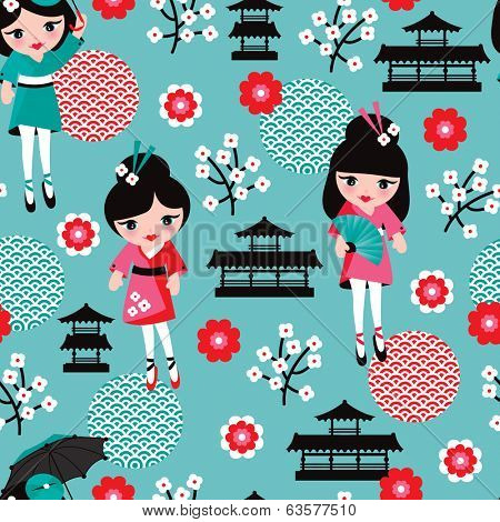 Seamless japan geisha sushi girl kids illustration background pattern in vector