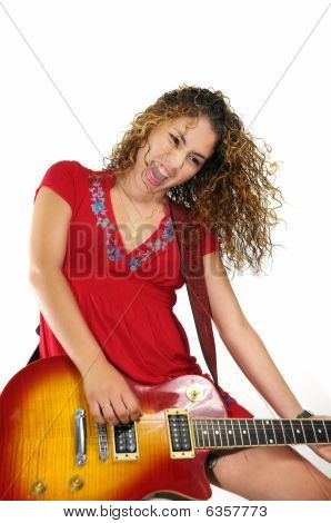 Guitarist Girl Screaming Isolated
