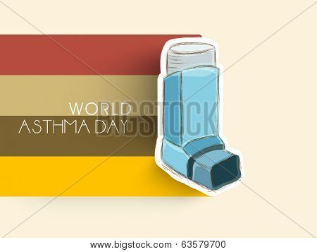 World Asthma Day concept with inhaler on colorful stripes background.