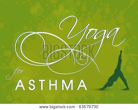 World Asthma Day concept with illustration of a yoga pose and stylish text on green background.