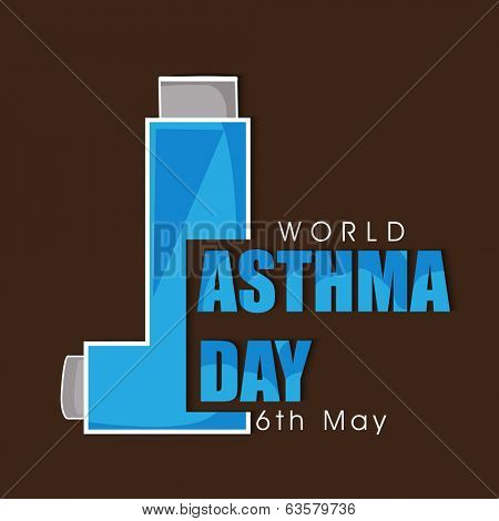 World Asthma Day concept with inhaler and stylish text on brown background.
