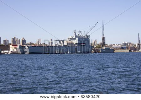 HMAS Choulas docked in Sydney Harbour