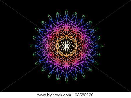 Rainbow Flower In Spirograph Style On Black Background