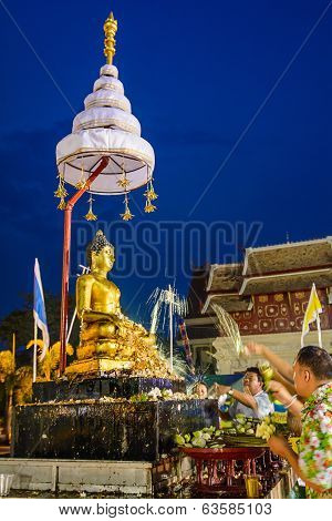 Pouring Water To  Buddha
