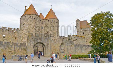 The Castle entrance, Carcassonne, France.