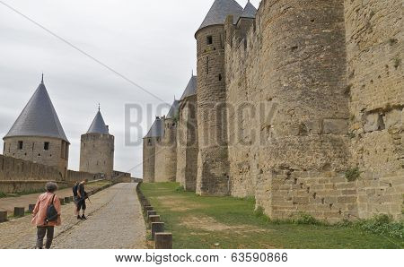 The Castle walls, Carcassonne, France.