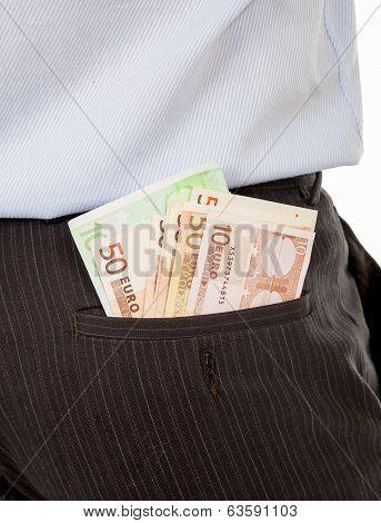 Macro Of Euro Banknotes In Businessmans Back Pocket.