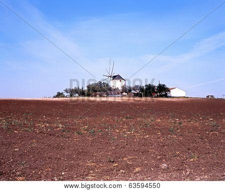 Farmland with windmill to rear, Portugal.