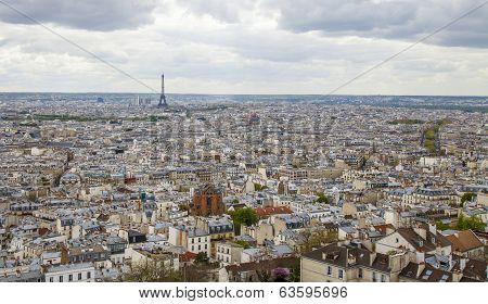 Paris, France. View of the city from the observation platform of the Basilica of Sacre Coeur in Mont