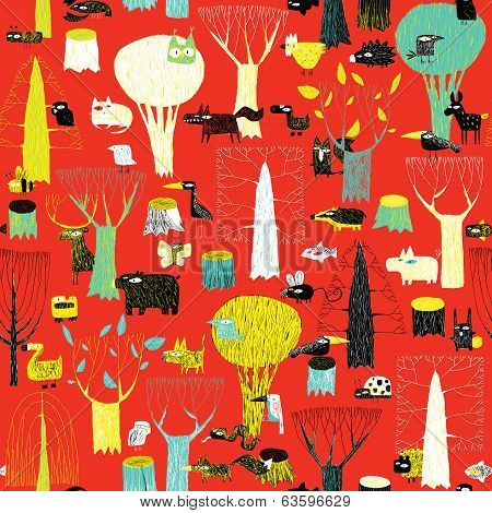 Wood Animals Tapestry Seamless Pattern In Pop Colors
