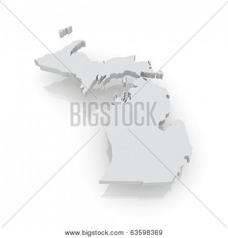 Three-dimensional map of Michigan. USA. 3d