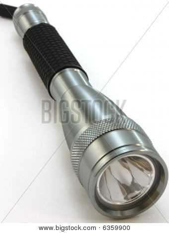 Flashlight, chrome on white background