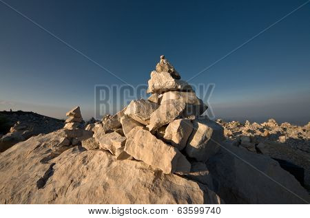 piled stones in the Njegos's Mausoleum of Lovcen National Park - Montenegro