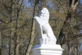 White lion statue in park
