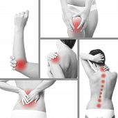 stock photo of muscle pain  - Pain in a woman - JPG