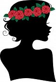 Illustration Featuring the Silhouette of a Woman Wearing a Headband Made of Roses