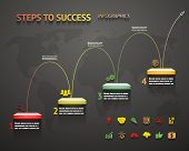 stock photo of stairway  - Success Option Steps Template arrow and Staircase Infographic Icons Vector Illustration - JPG
