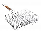 Stainless barbecue grill camping basket isolated on white
