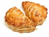 Cornish pasties on white background.