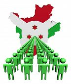 picture of burundi  - Lines of people with Burundi map flag illustration - JPG