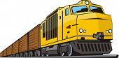 foto of locomotive  - railway locomotive with vans for cargo transportation - JPG