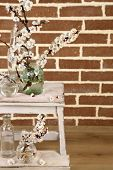 Beautiful apricot blossom in transparent jars on brick wall background