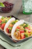 stock photo of avocado  - Tacos filled with migas a Tex - JPG