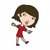 cartoon happy girl gesturing to follow