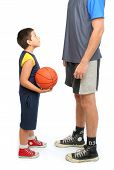 Little Boy Asking Big Man To Play Basketball poster