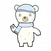 cartoon waving polar bear