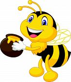 stock photo of bee keeping  - Vector illustration of Bee cartoon holding honey bucket - JPG