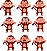 pic of chimp  - Vector illustration of Cute monkeys cartoon in various expression - JPG