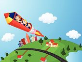 image of riding-crop  - Vector illustration of School Children cartoon Enjoying Pencil Rocket Ride - JPG