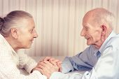picture of old couple  - Closeup portrait of smiling elderly couple - JPG