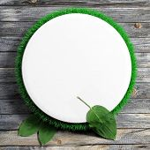 White frame with grass and leaves on wooden background