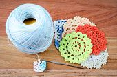 picture of thread-making  - Crochet the making of a crocheted on wood background a retro handmade craft with balls of yarn color blue .