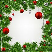 Christmas frame background with fir twigs and red balls. Vector illustration.