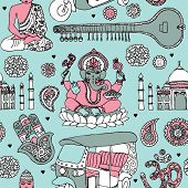 stock photo of buddha  - Seamless ganesha sitar buddha and taj mahal travel icons of india illustration background pattern in vector - JPG