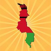 Malawi map flag on sunburst vector illustration