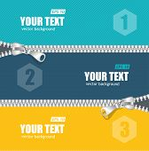 picture of zipper  - Vector realistic zippers banner 1 2 3 concept template - JPG