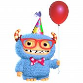 picture of bigfoot  - 3d cartoon cute blue monster with baloon - JPG