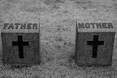 stock photo of headstones  - Mother and Father Headstones with Crosses in Black and White - JPG
