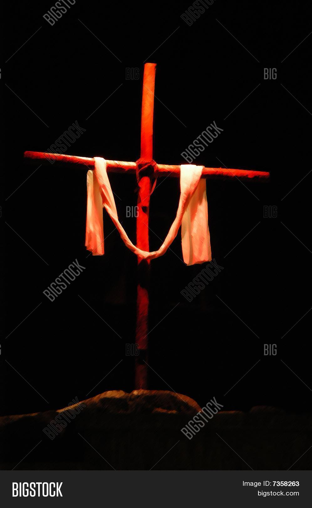 cross draped cloth red hues image amp photo bigstock